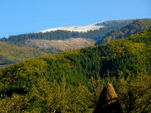 Witte bergensneeuw op piekenstapel van hey Stock Afbeelding