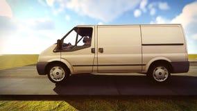 Witte bestelwagen die op wegen het 3d teruggeven reizen Stock Foto