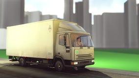 Witte bestelwagen die op wegen het 3d teruggeven reizen Stock Fotografie