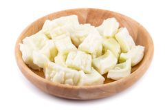Witte bittere die meloen en plak op een witte achtergrond wordt geïsoleerd stock afbeeldingen