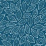 Witte bladeren op een blauwe vector naadloze abstracte hand als achtergrond Stock Foto