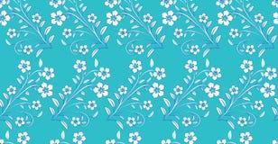 Witte blauwe bloemen op blauwe achtergrond Royalty-vrije Stock Foto's
