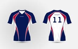 Witte, Blauwe en rode de voetbaluitrustingen van de patroonsport, Jersey, het malplaatje van het t-shirtontwerp Royalty-vrije Stock Foto