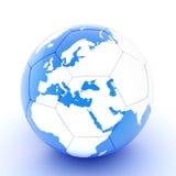 Witte blauwe voetbalbal met wereldkaart royalty-vrije illustratie