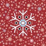 Witte blauwe zwarte de wintersneeuwvlokken op rode achtergrond Eind van jaarkerstmis en verkoopseizoen Royalty-vrije Stock Afbeeldingen