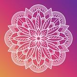 Witte Bloem Mandala Oosters Aziatisch Arabisch decoratief element stock illustratie