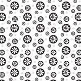 Witte bloem op zwarte cirkel met zilveren backgrou van het bloempatroon Stock Afbeelding