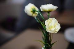 Witte bloemen op de lijst Royalty-vrije Stock Foto