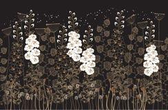 Witte bloemen op een zwarte [Omgezette] achtergrond Stock Illustratie