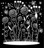 Witte bloemen op zwarte achtergrond Stock Illustratie