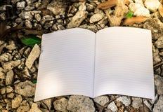 Witte boek en steen Stock Afbeelding