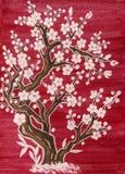 Witte boom in bloesem, het schilderen Royalty-vrije Stock Afbeelding