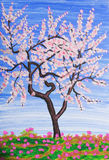 Witte boom, het schilderen Stock Afbeeldingen