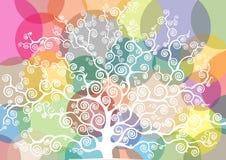 Witte boom op een gekleurde achtergrond Stock Foto's