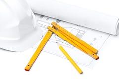 Witte bouwvakker, voetheerser, die op wit wordt geïsoleerdn Royalty-vrije Stock Afbeeldingen