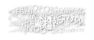 Witte brieven met zelfde doopvontstijlen en schaduwen over een Witboek Royalty-vrije Stock Foto's
