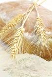 Witte brood en aren van tarwe en tarwemeel Royalty-vrije Stock Fotografie