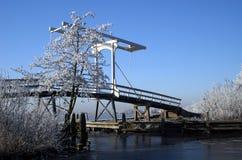Witte brug in een bevroren landschap royalty-vrije stock foto