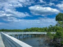 Witte brug over het meer stock foto's