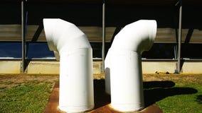 Witte buizen van gassen en dampen in het ziekenhuis in Barcelona royalty-vrije stock foto