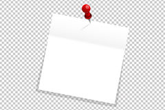 Witte bureaudocument sticker op rode geïsoleerde speld stock illustratie