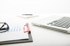 Witte bureaulijst met leeg notitieboekje, computertoetsenbord en andere bureaulevering Royalty-vrije Stock Foto