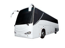 Witte bus stock fotografie