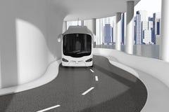Witte Bus Tour Bus Driving op de Moderne van de Overzeese Weg c Brugweg vector illustratie