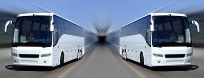 Witte bussen in motie Royalty-vrije Stock Afbeeldingen