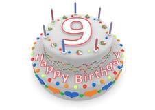 Witte cake met gelukkige verjaardag en de leeftijd vector illustratie