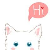Witte Cat Sneaking Kerstmisdag van de groetkaart Vector illustratie Royalty-vrije Stock Foto