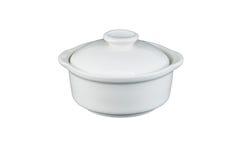 Witte ceramische kom Royalty-vrije Stock Foto's