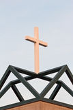Witte Christian Cross On Green Geometric-Basis royalty-vrije stock fotografie