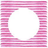 Witte Cirkel op roze die streep in waterverf wordt geschilderd Retro stijlachtergrond Elementenontwerp voor affiches, stickers, b Stock Afbeeldingen