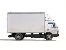 Witte commerciële leveringsvrachtwagen Stock Foto's
