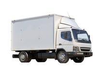 Witte commerciële leveringsvrachtwagen Stock Foto