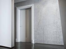 Witte concrete muur in binnenland het 3d teruggeven Stock Foto's