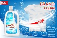 Witte container 3d fles met wasmiddeladvertentie Het ontwerp van het vlekkenmiddelpakket voor reclame Wasdetergens Stock Afbeeldingen