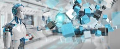 Witte cyborg die het blauwe digitale kubusstructuur 3D teruggeven gebruiken vector illustratie