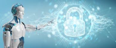 Witte cyborg die zijn datas met digitaal veiligheidshologram beschermen vector illustratie
