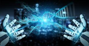 Witte cyborghand die het menselijke 3D teruggeven van DNA aftasten Royalty-vrije Stock Fotografie