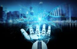 Witte cyborghand die het menselijke 3D teruggeven van DNA aftasten Royalty-vrije Illustratie