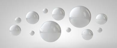 Witte 3d ballenachtergrond, 3d illustratie Stock Foto's