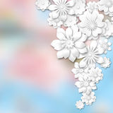 Witte 3d bloemen op samenvatting vage achtergrond Stock Foto