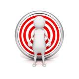 Witte 3d mens achter doel. bedrijfssucces Royalty-vrije Stock Fotografie
