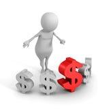 Witte 3d mens en het grote rode teken van de dollarmunt Stock Afbeeldingen