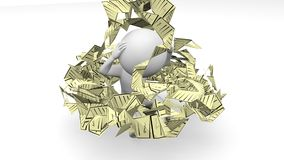 Witte 3D mens en rekeningen royalty-vrije stock foto's