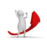 Witte 3d mens met het kweken van stijgings omhoog rode pijl Stock Afbeeldingen
