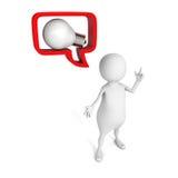 Witte 3d mens met idee lightbulb in toespraakbel Royalty-vrije Stock Foto