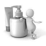 Witte 3d Mens met Kosmetische Buis en Fles Room Royalty-vrije Illustratie